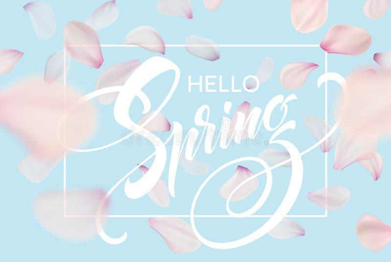 Plantilla de la bandera del web de las letras de la primavera Diseño rosado del fondo del paisaje del cielo azul de la flor de la stock de ilustración