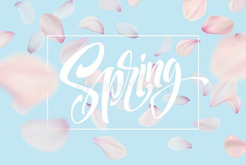 Plantilla de la bandera del web de las letras de la primavera Diseño rosado del fondo del paisaje del cielo azul de la flor de la ilustración del vector
