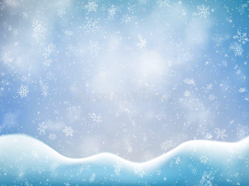 Plantilla de la bandera de la Navidad con nieve, las nubes y la nieve acumulada por la ventisca que caen Contexto de la decoració ilustración del vector