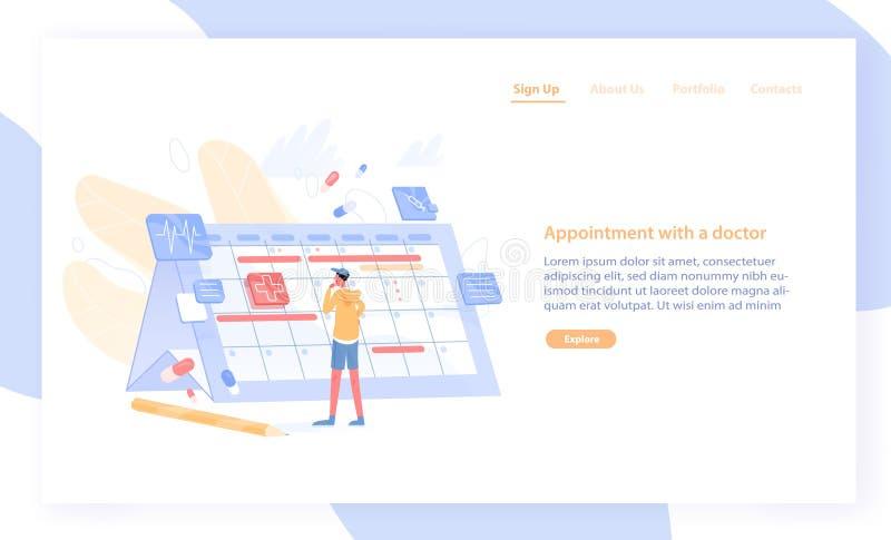 Plantilla de la bandera de la página web o de la web con el hombre que mira el calendario gigante y que elige la fecha para visit stock de ilustración