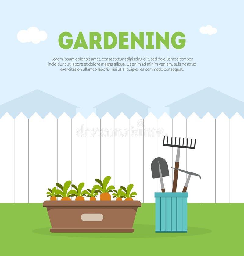 Plantilla de la bandera que cultiva un huerto con el lugar para el ejemplo del vector del texto, de la cerca, de los utensilios d ilustración del vector