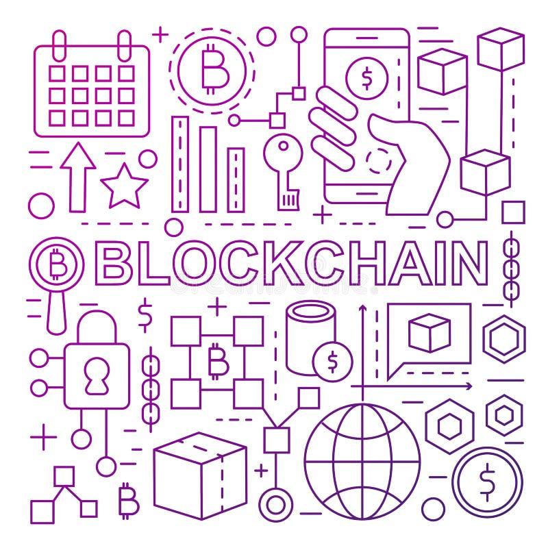 Plantilla de la bandera de la tecnología de Blockchain hecha con la línea de color iconos stock de ilustración