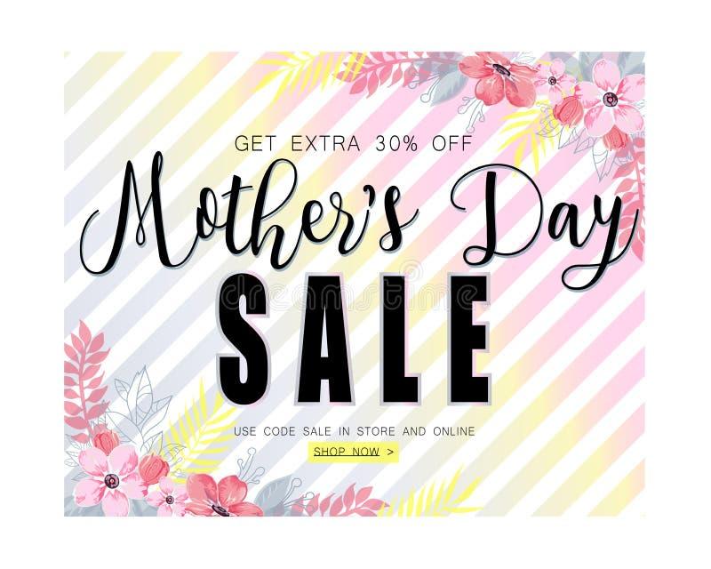 Plantilla de la bandera de la venta del día de madres para la medios publicidad social ilustración del vector