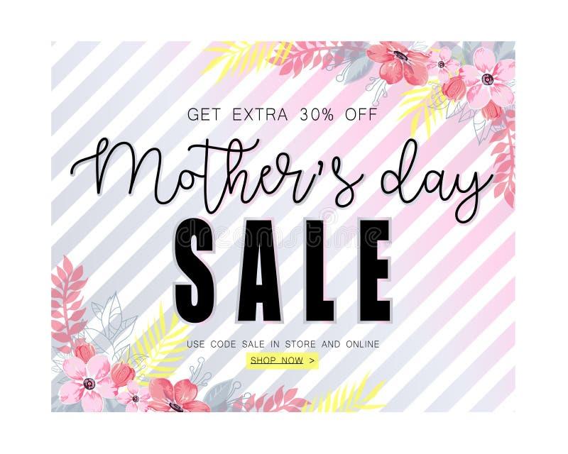 Plantilla de la bandera de la venta del día de madres para la medios publicidad social stock de ilustración