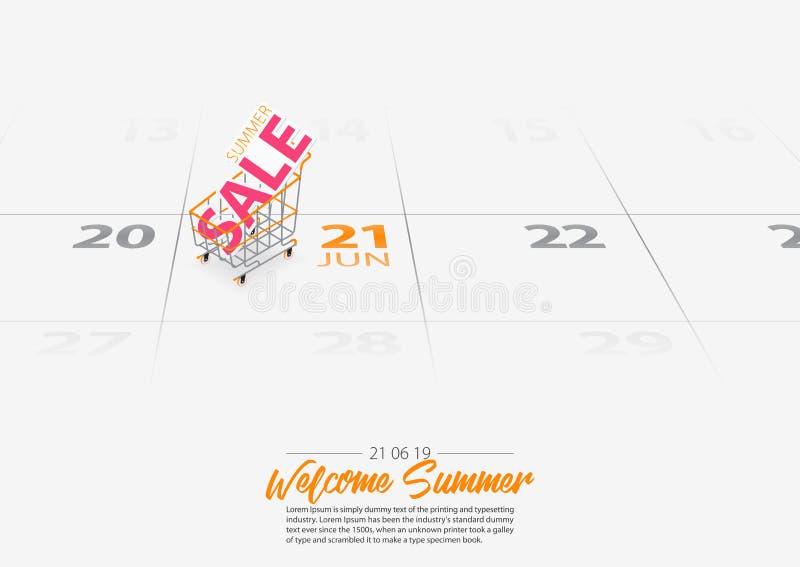Plantilla de la bandera de la venta del verano Comienzo marcado de la estación de verano de la fecha del carro de la compra el ca ilustración del vector