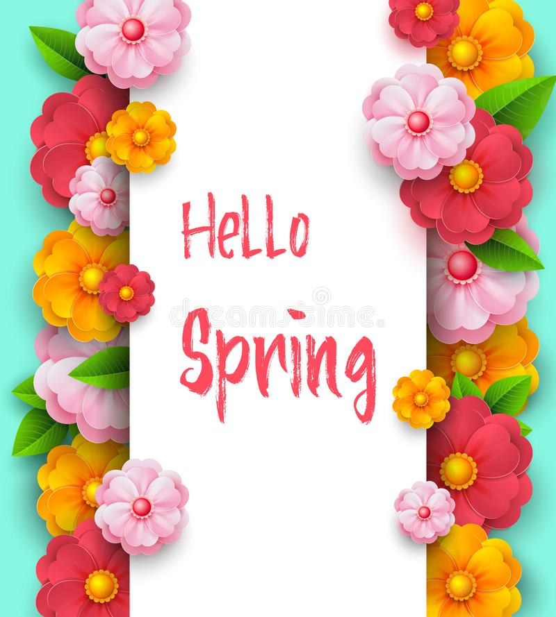 Plantilla de la bandera de la venta de la primavera con los colores vivos de papel en fondo colorido Descuentos estacionales Band ilustración del vector