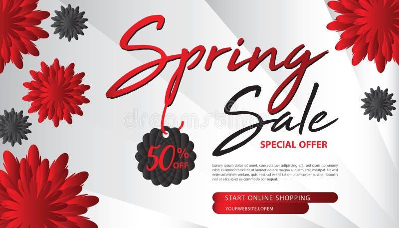 Plantilla de la bandera de la venta de la primavera, página web, diseño de la bandera, concepto de la flor stock de ilustración