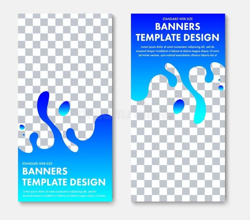 Plantilla de la bandera vertical de la web del vector con forma azul abstracta y del lugar para la foto stock de ilustración