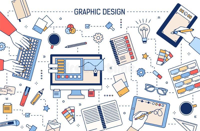 Plantilla de la bandera de la web con el diseño gráfico o las herramientas digitales del arte, manos que trabajan en el ordenador stock de ilustración