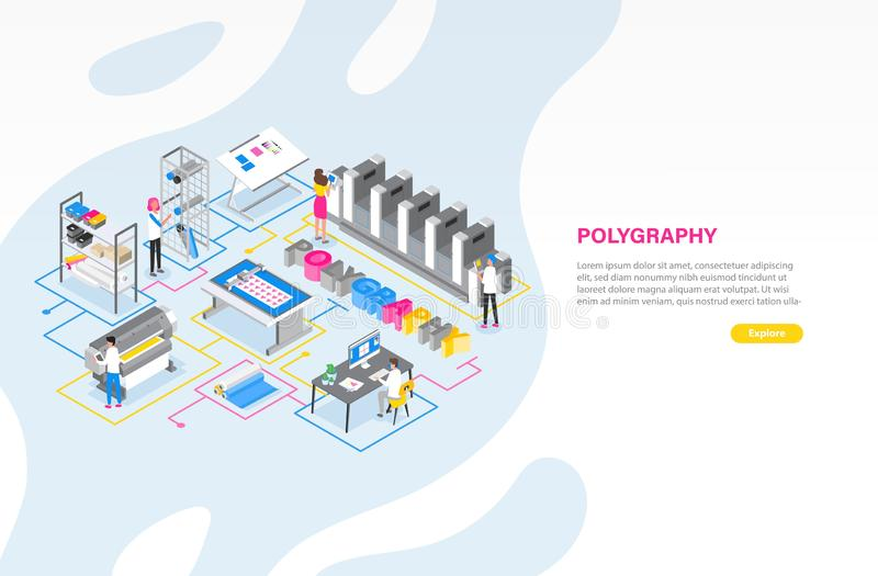 Plantilla de la bandera de la web con la imprenta o centro de servicio de impresión con la gente que trabaja con los trazadores,  stock de ilustración