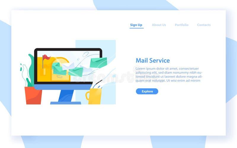 Plantilla de la bandera de la web con la pantalla de ordenador, el buzón abierto y las letras en los sobres que vuelan de él Corr stock de ilustración