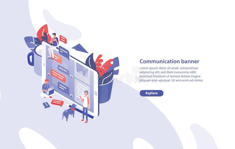 Plantilla de la bandera de la web con smartphone gigante, gente minúscula alrededor de él y lugar para el texto Comunicación, men ilustración del vector