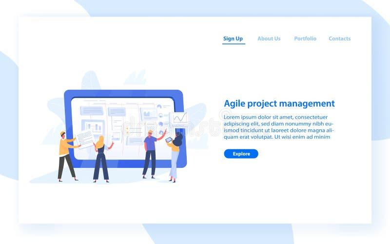 Plantilla de la bandera de la web con tareas de organización del grupo de personas en la pantalla de la tableta gigante Gestión d stock de ilustración