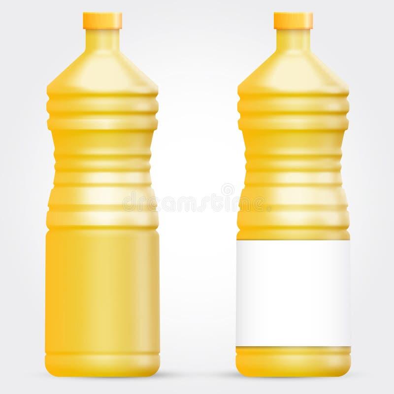 Plantilla de la botella de cristal o plástica para el aceite de girasol o el otro líquido ilustración del vector