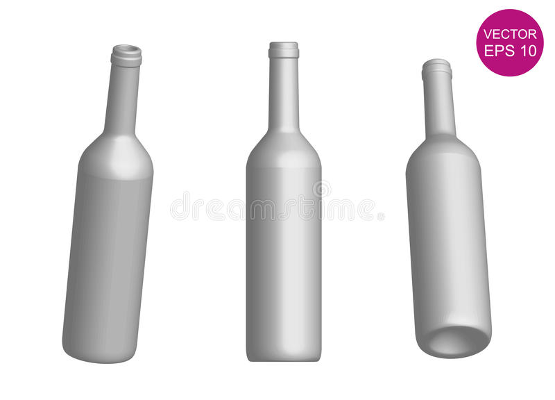 Plantilla de la botella de vino 3d Ilustración del vector EPS10 ilustración del vector