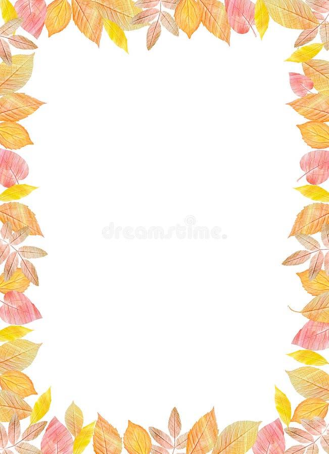 Plantilla de la caída Hojas de otoño coloridas brillantes en fondo blanco vertical Usted puede poner su texto en el centro ilustración del vector