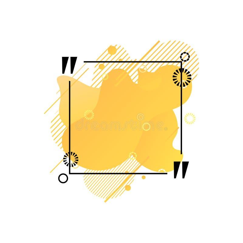 Plantilla de la caja de la cita del vector, formas abstractas líquidas coloridas anaranjadas, fondo geométrico aislado, marco del libre illustration