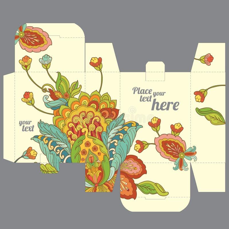 Plantilla de la caja del favor de la boda del regalo con el estampado de plores oriental stock de ilustración