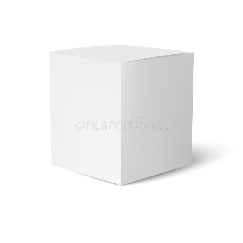 Plantilla de la caja del papel o de cartón que se coloca en el fondo blanco Colección de empaquetado Vector ilustración del vector