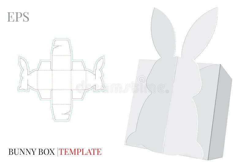 Plantilla de la caja de regalo, vector con las l?neas cortado con tintas/del laser de corte Bunny Candy Box Mofa blanca, en blanc ilustración del vector
