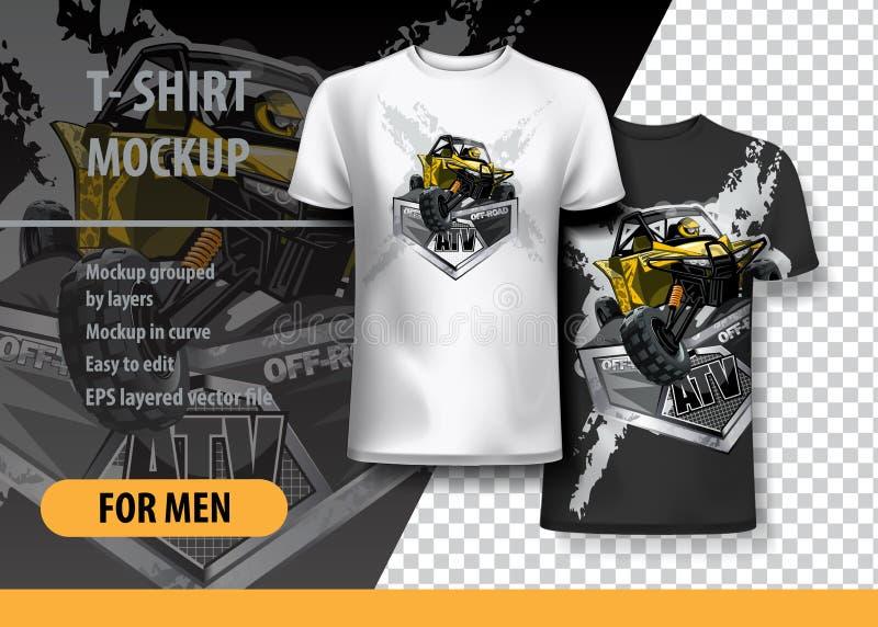 Plantilla de la camiseta, completamente editable con el cochecillo amarillo de ATV ilustración del vector
