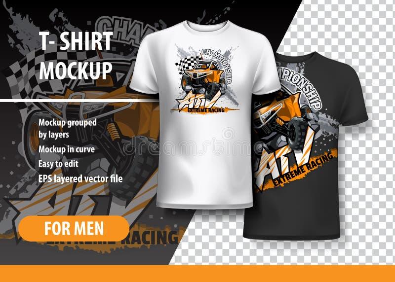 Plantilla de la camiseta, completamente editable con el cochecillo campo a través anaranjado de ATV stock de ilustración