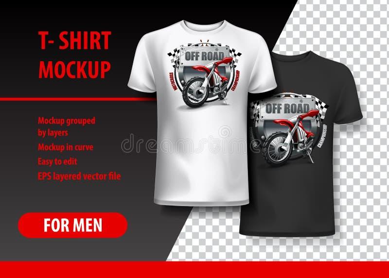 Plantilla de la camiseta, completamente editable con el logotipo del motocrós Ilustración del vector del EPS 10 stock de ilustración