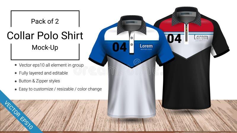 Plantilla de la camiseta del cuello del polo, fichero del vector eps10 acodado completamente y editable preparada para mostrar el ilustración del vector
