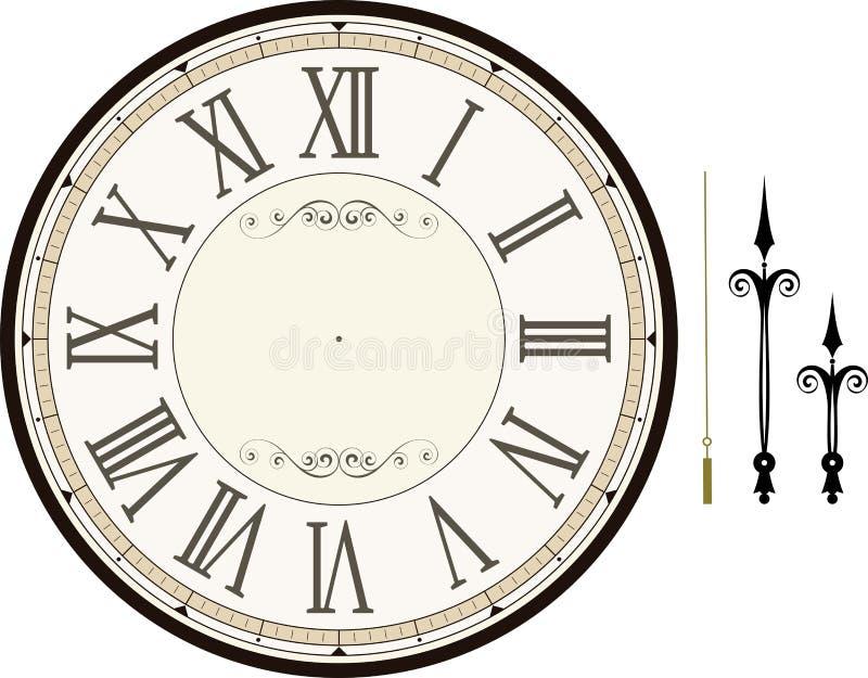 Plantilla de la cara de reloj del vintage ilustración del vector