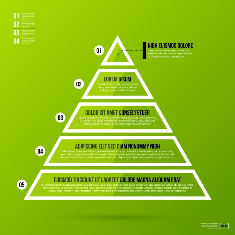 Plantilla de la carta de la pirámide en fondo verde fresco stock de ilustración