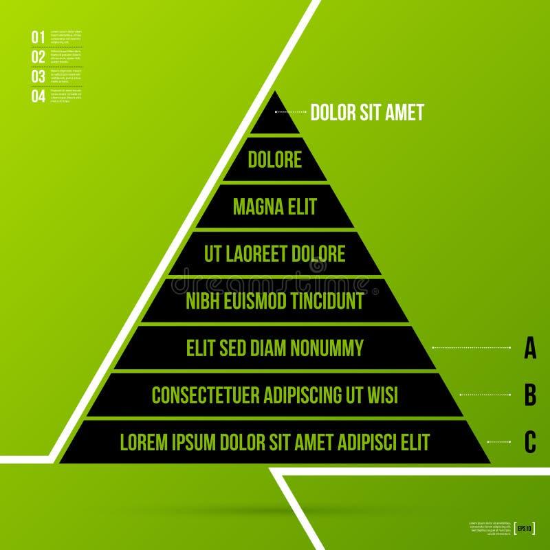 Plantilla de la carta de la pirámide en fondo verde fresco ilustración del vector