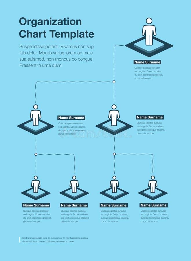 Plantilla de la carta de la jerarquía de la organización de la compañía con el lugar para su contenido - versión azul ilustración del vector