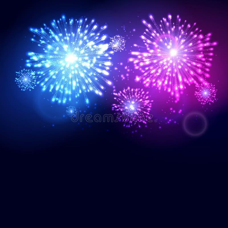 Plantilla de la celebración del día de fiesta del Año Nuevo del fuego artificial Fondo colorido del evento del carnaval de la lla ilustración del vector