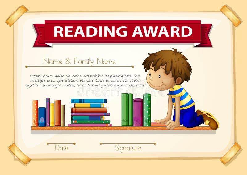 Plantilla de la certificación con el muchacho y los libros libre illustration