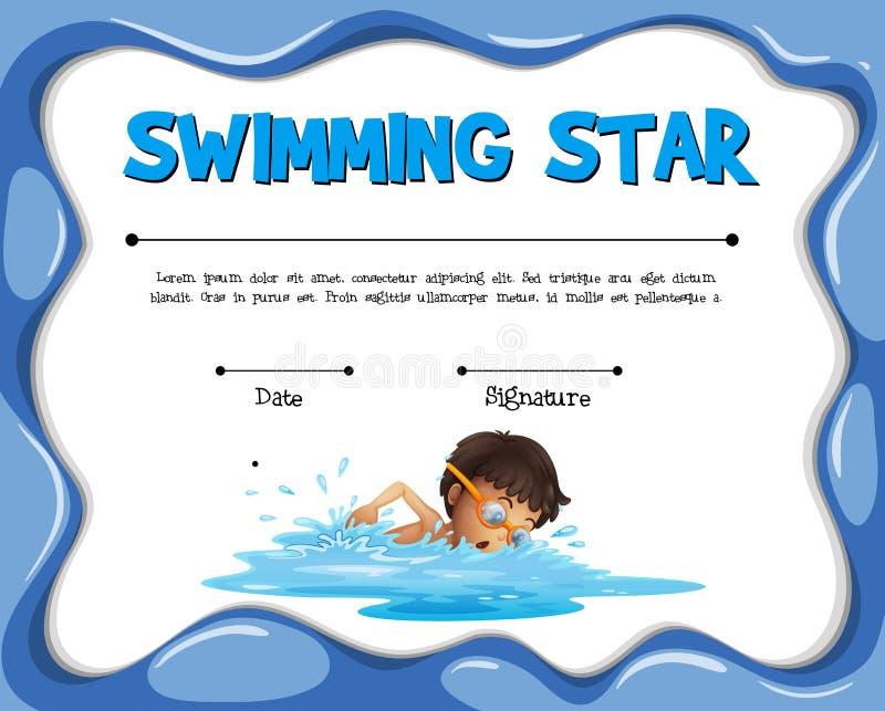 Plantilla de la certificación de la estrella que nada con el nadador ilustración del vector