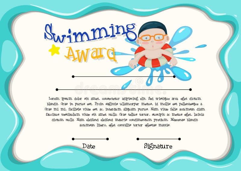Plantilla de la certificación del mejor nadador stock de ilustración