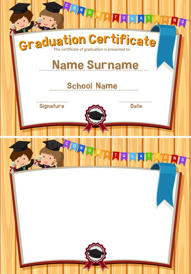 Plantilla de la certificación de la graduación con los estudiantes felices libre illustration