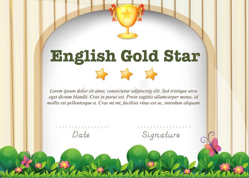 Plantilla de la certificación para el tema inglés stock de ilustración