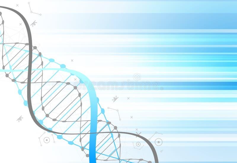 Plantilla de la ciencia, papel pintado azul o bandera con las moléculas de una DNA libre illustration