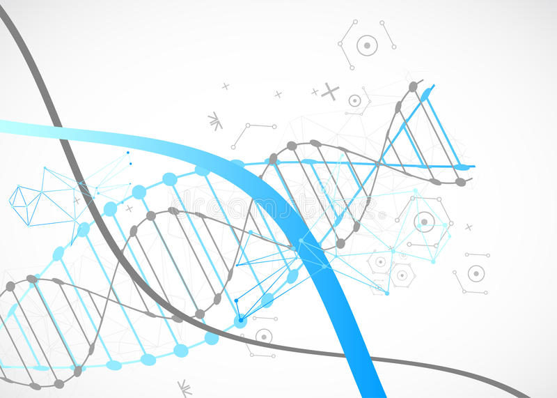 Plantilla de la ciencia, papel pintado azul o bandera con las moléculas de una DNA stock de ilustración