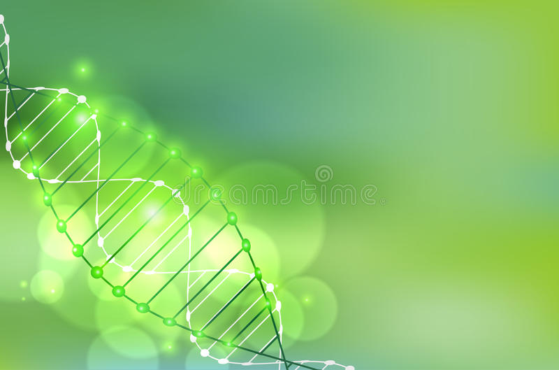 Plantilla de la ciencia, papel pintado verde o bandera con las moléculas de una DNA libre illustration
