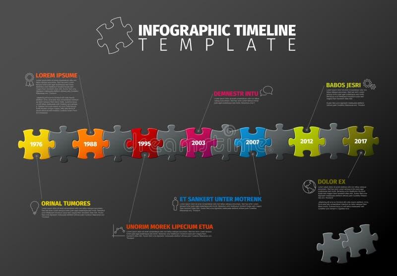 Plantilla de la cronología de Infographic del rompecabezas del vector stock de ilustración