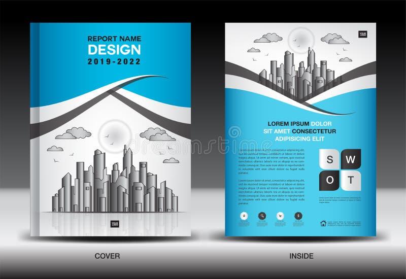Plantilla de la cubierta azul con el paisaje de la ciudad, diseño de la cubierta del informe anual, plantilla del aviador del fol stock de ilustración