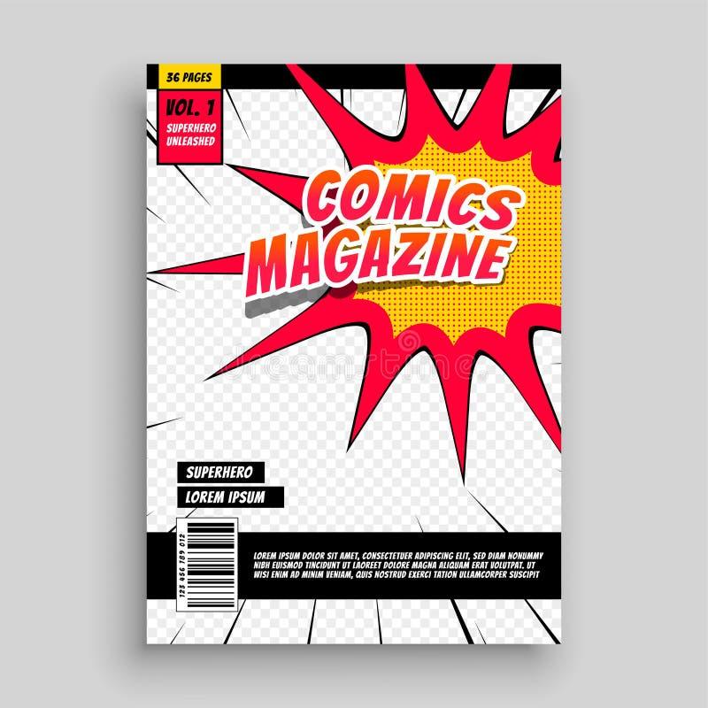 Plantilla de la cubierta cómica de libro de la revista libre illustration