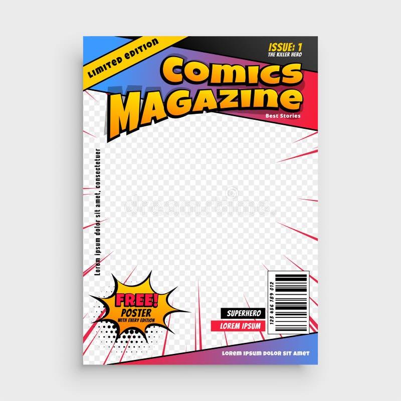 Plantilla de la cubierta cómica de libro de la revista ilustración del vector