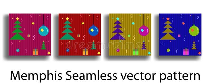 Plantilla de la cubierta con las figuras de la geometría Memphis inconsútiles en el estilo de la Navidad para los folletos, carte libre illustration