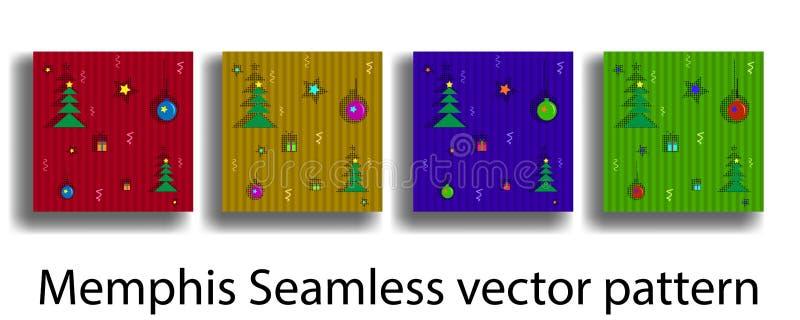 Plantilla de la cubierta con las figuras de la geometría Memphis inconsútiles en el estilo de la Navidad para los folletos, carte stock de ilustración