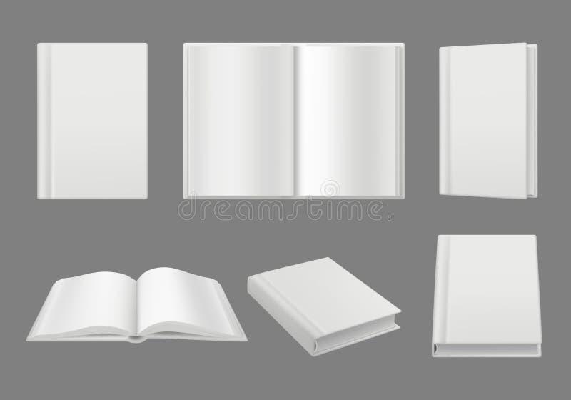 Plantilla de la cubierta de libros Maqueta realista aislada páginas blancas limpias del vector del folleto 3d o de la revista ilustración del vector