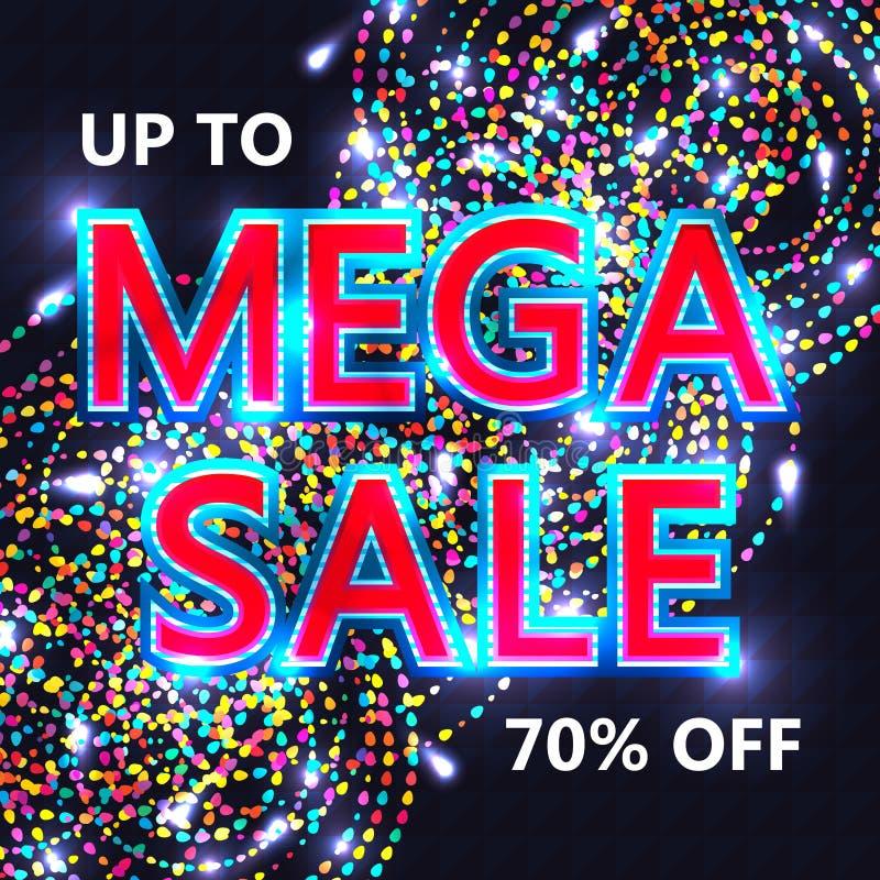 Plantilla de la cubierta mega de la venta RGB stock de ilustración