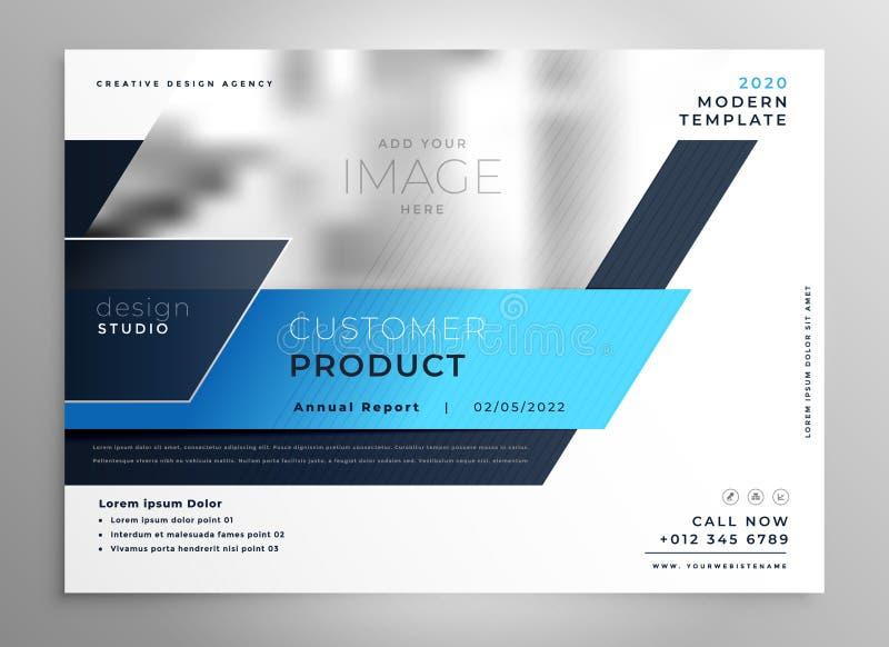 Plantilla de la cubierta moderna azul creativa de la presentación del aviador del negocio ilustración del vector